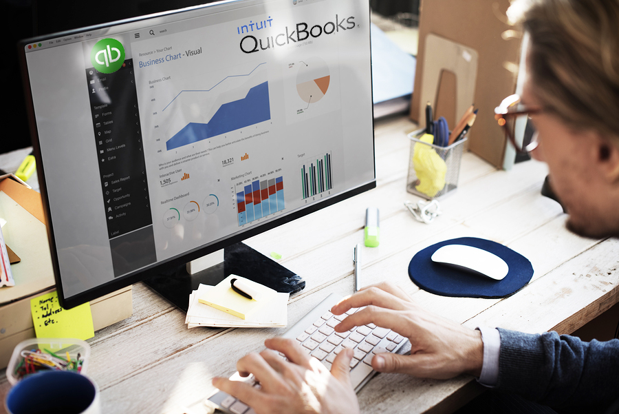 QuickBooks Training, Businessman Working Dashboard Strategy Research Concept